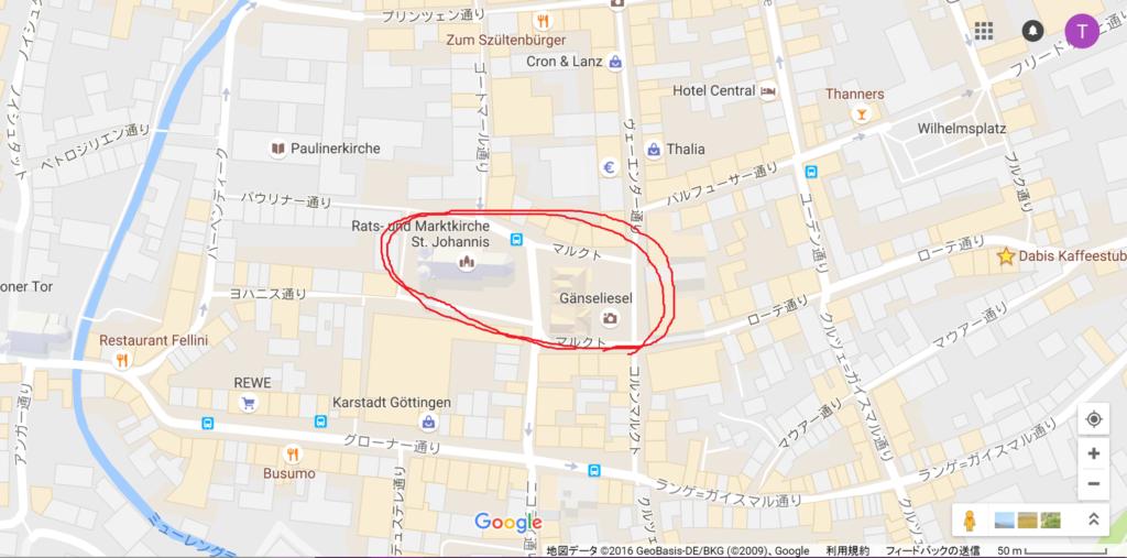 ゲッティンゲンのクリスマスマーケットの地図