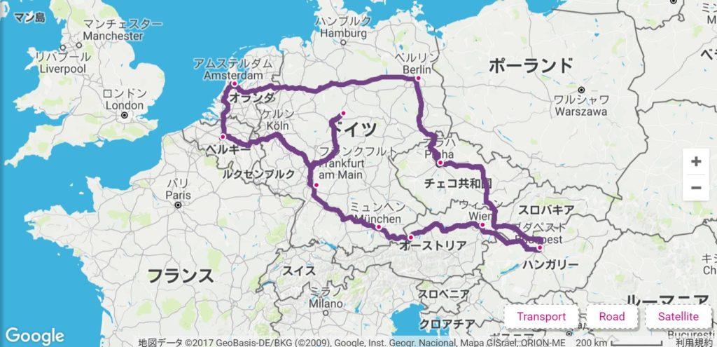 ヨーロッパ周遊のルート