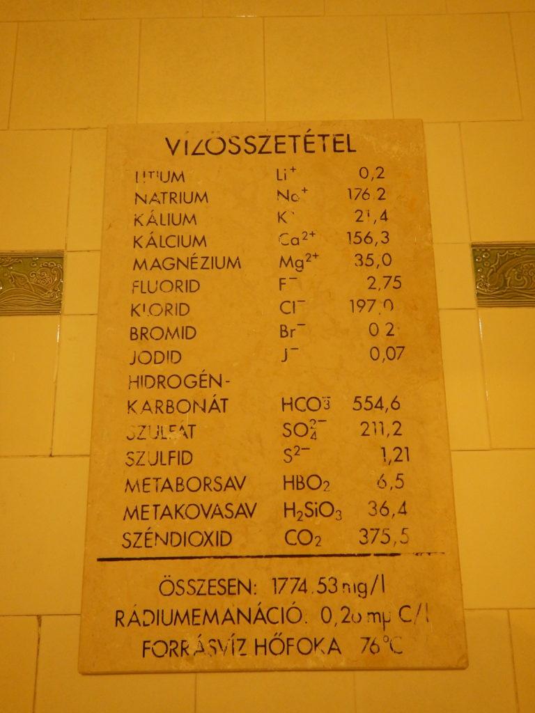 セーチェニ温泉成分分析表