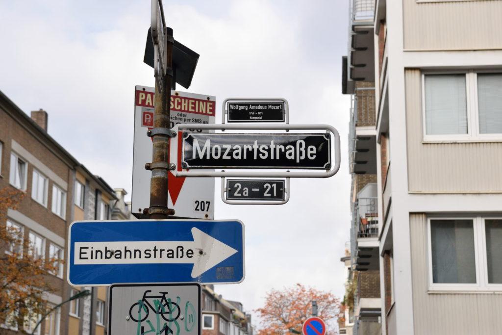 モーツァルト通りの標識