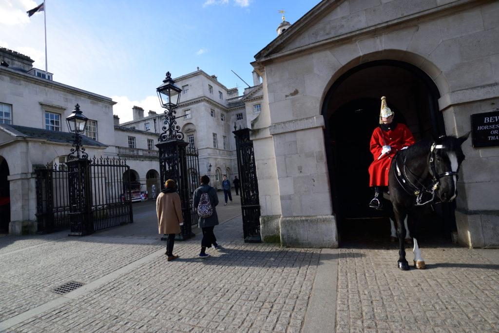 門にいる馬