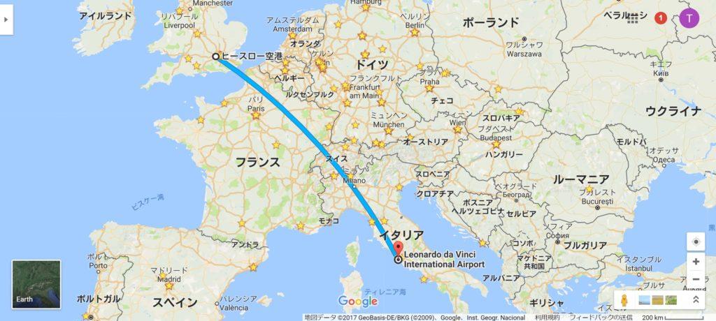 ヒースロー→ローマ便マップ