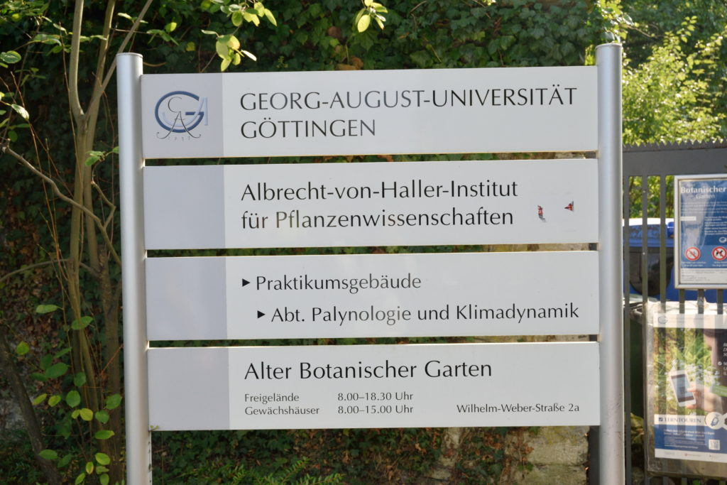ゲッティンゲン植物園、看板