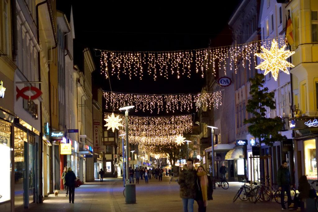ゲッティンゲンの街中の、クリスマスイルミネーション