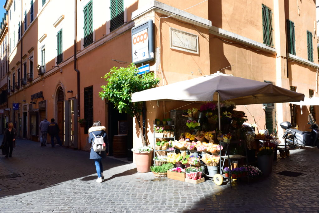 ローマの路上花屋、正面から