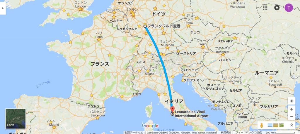 フランクフルト→ローマ航空便地図