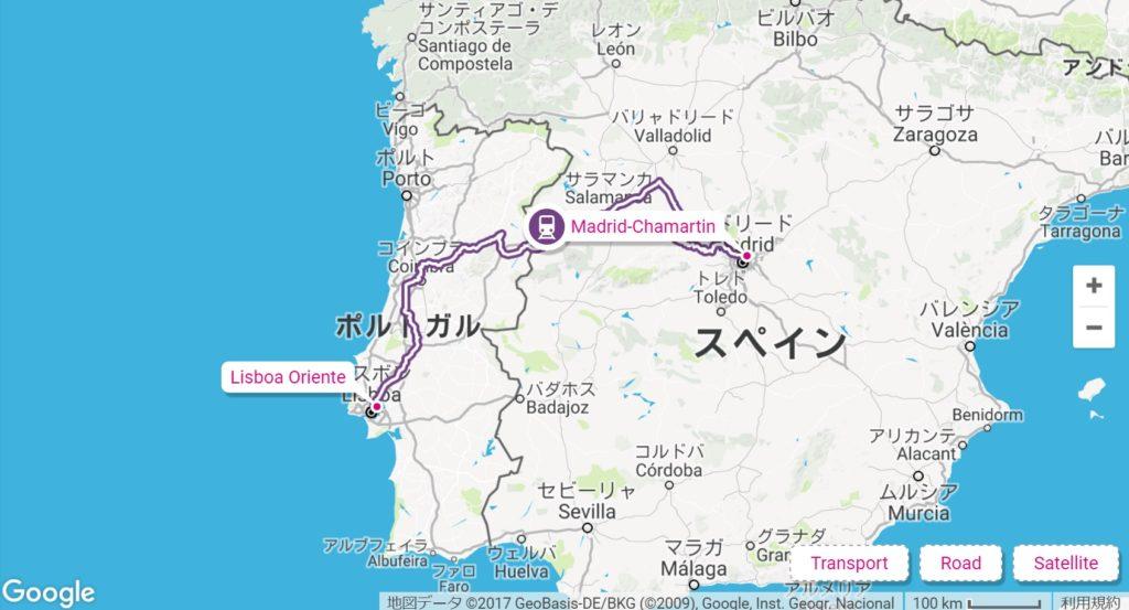 スペインポルトガルの寝台列車のルート