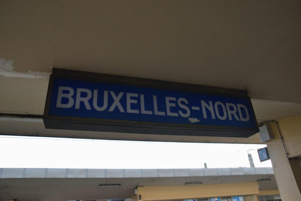 ブリュッセル駅の看板