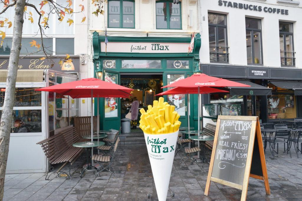 ベルギーの、フリット店の外観