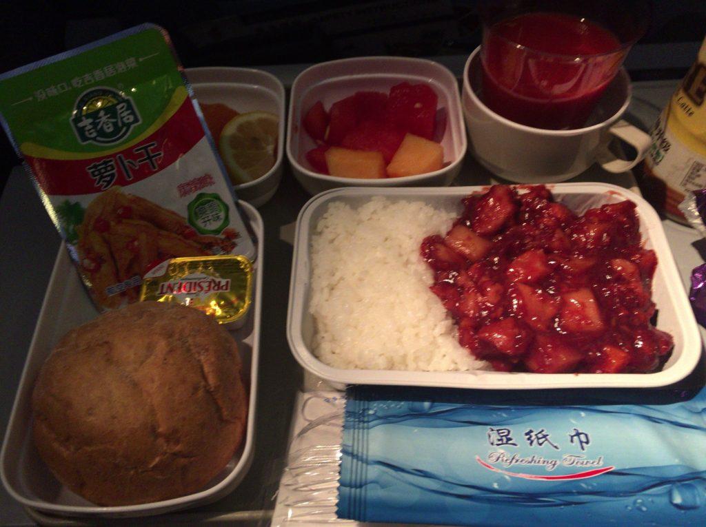 エア・チャイナ、北京→フランクフルト便の機内食