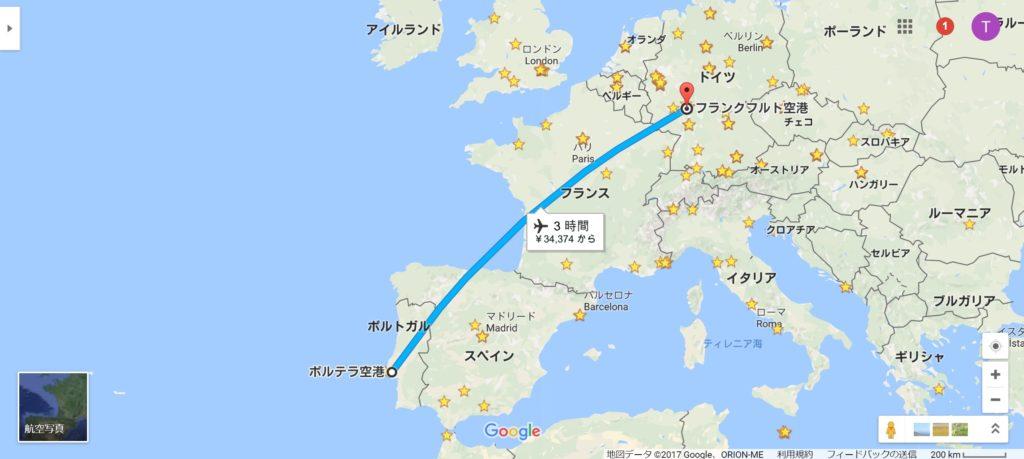 リスボン→フランクフルト便ルート