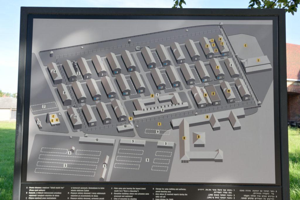 アウシュビッツ博物館内のマップ
