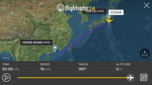 東京~香港での飛行ルート