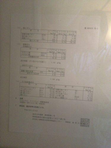白壁荘の温泉分析表