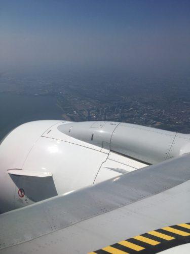 羽田空港着陸時に見える幕張