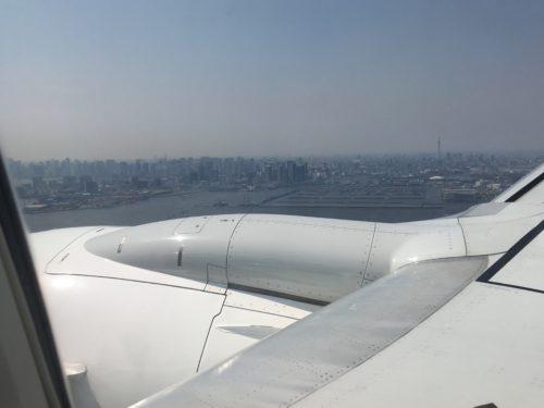 羽田空港着陸時に見下ろす東京の街並み