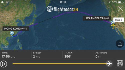 香港ロサンゼルスの飛行ルート