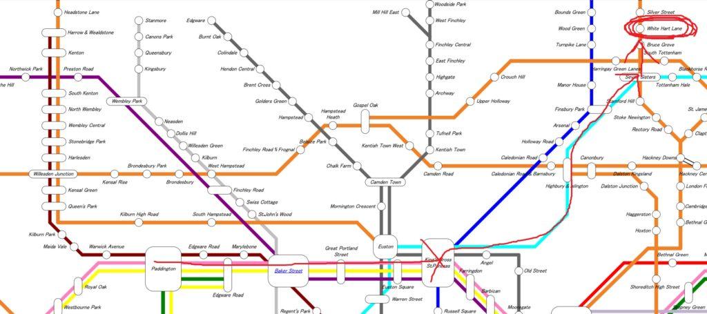 ホワイト・ハート・レーン行き方路線図