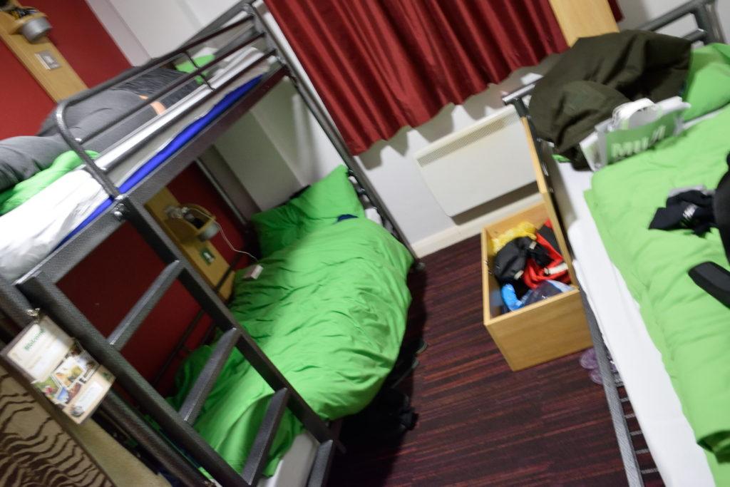 ロンドンのユースホステルの室内