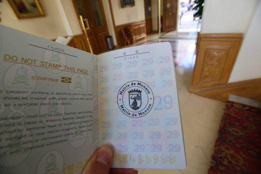 モナコの入国スタンプ