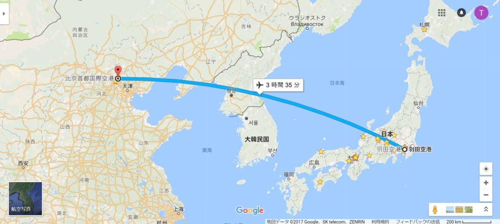 羽田→北京便の航路