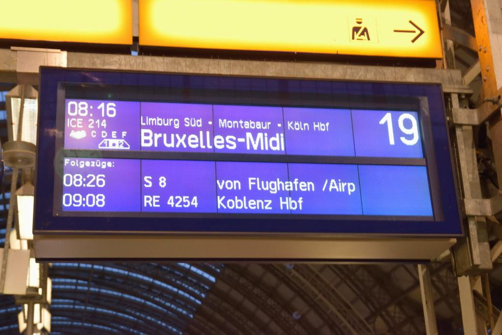フランクフルト発ブリュッセル行きの列車