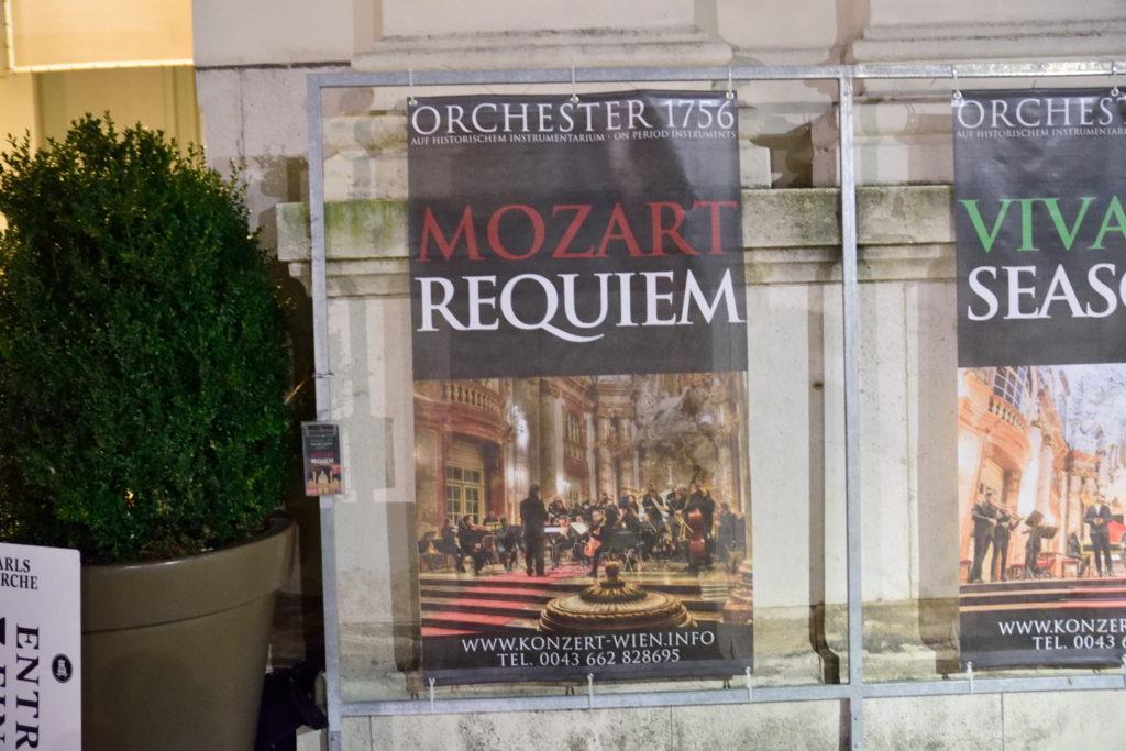 ウィーンでの、モーツァルトの鎮魂曲の公演