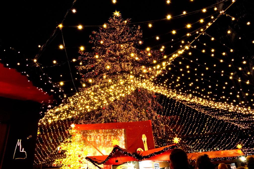 ケルンのクリスマスマーケットのクリスマスツリー