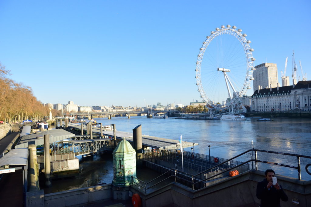 テムズ川と、その後ろのロンドン・アイ