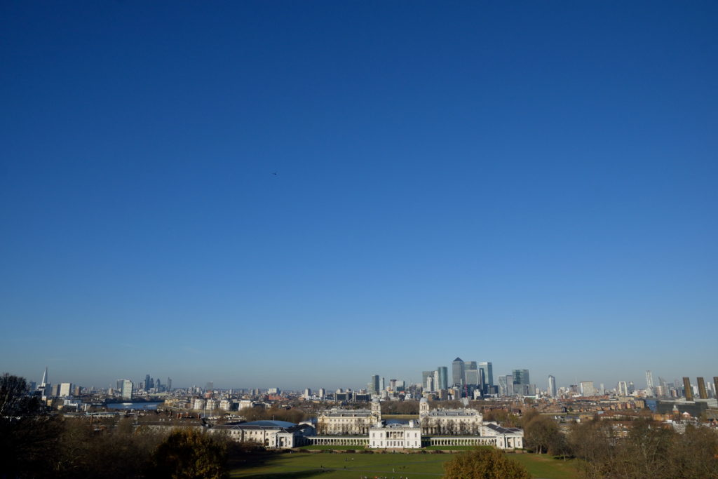 グリニッジ天文台から眺めたロンドン市街