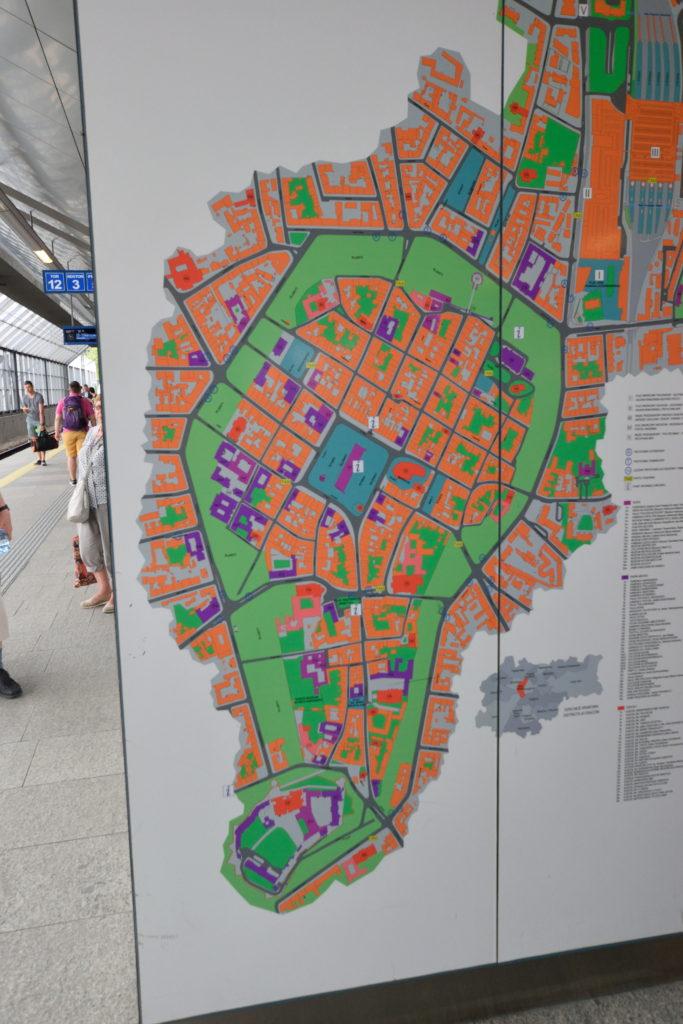 クラクフ旧市街地の地図