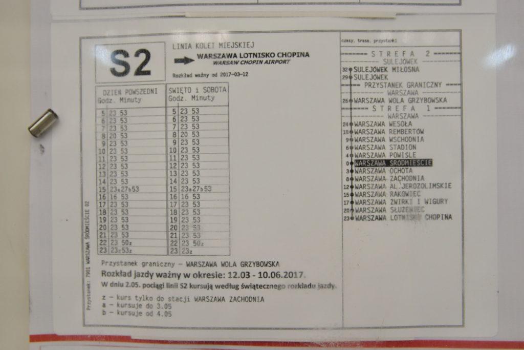 ワルシャワ・ショパン空港行き鉄道の時刻表