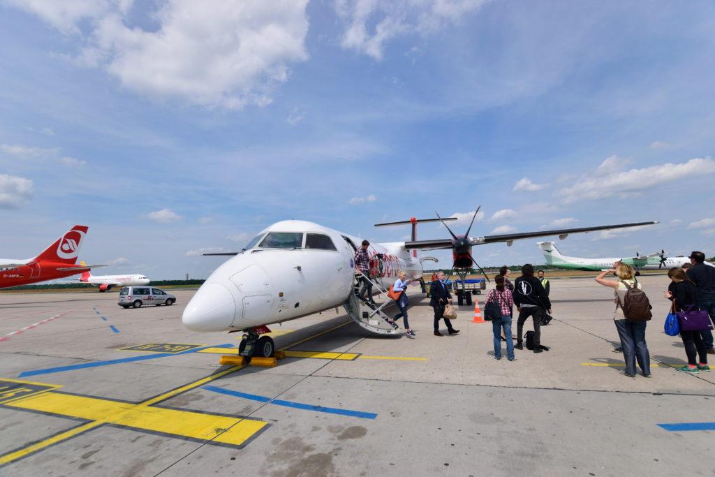 ベルリン・テーゲル空港Cターミナルのプロペラ機スポット
