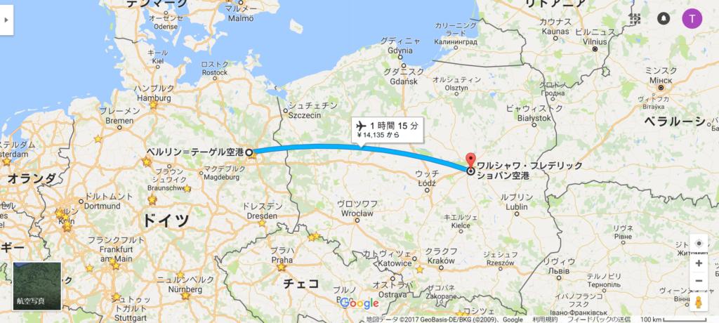 ベルリン→ワルシャワの飛行ルート