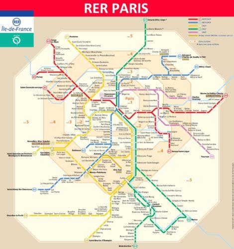 パリ市街の鉄道地図
