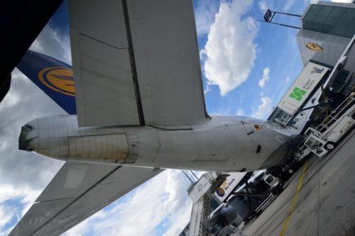 尾翼の下から見上げたB747