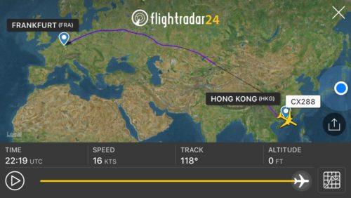 フランクフルト~香港便の飛行ルート