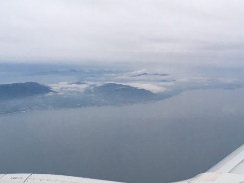 神戸空港着陸前に見える淡路島