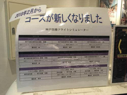 神戸空港フライトシュミレーターのコース一覧