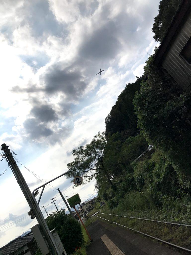 日当山駅から鹿児島空港アプローチを望む