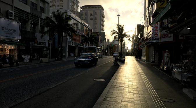 夕陽と国際通り